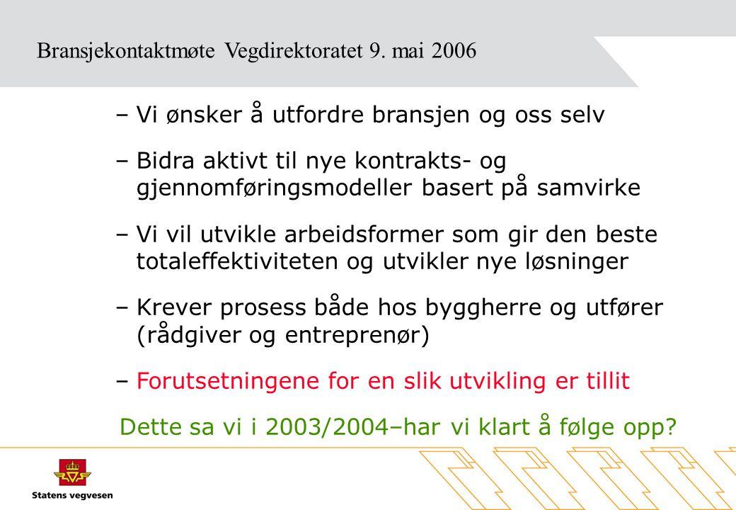 Materiale fra møtet vil bli lagt ut på vår web-side www.vegvesen.no Fagstoff - Bransjekontakt Bransjekontaktmøte Vegdirektoratet 9.