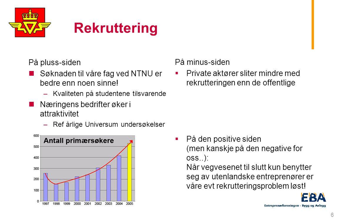 6 Rekruttering På pluss-siden Søknaden til våre fag ved NTNU er bedre enn noen sinne.