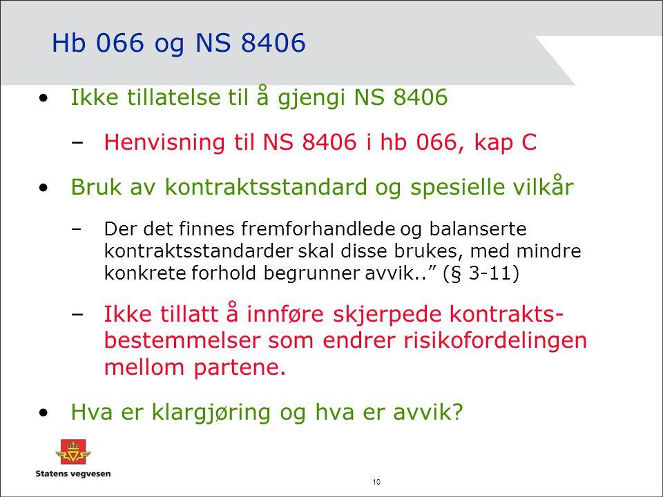 10 Hb 066 og NS 8406 Ikke tillatelse til å gjengi NS 8406 –Henvisning til NS 8406 i hb 066, kap C Bruk av kontraktsstandard og spesielle vilkår –Der d