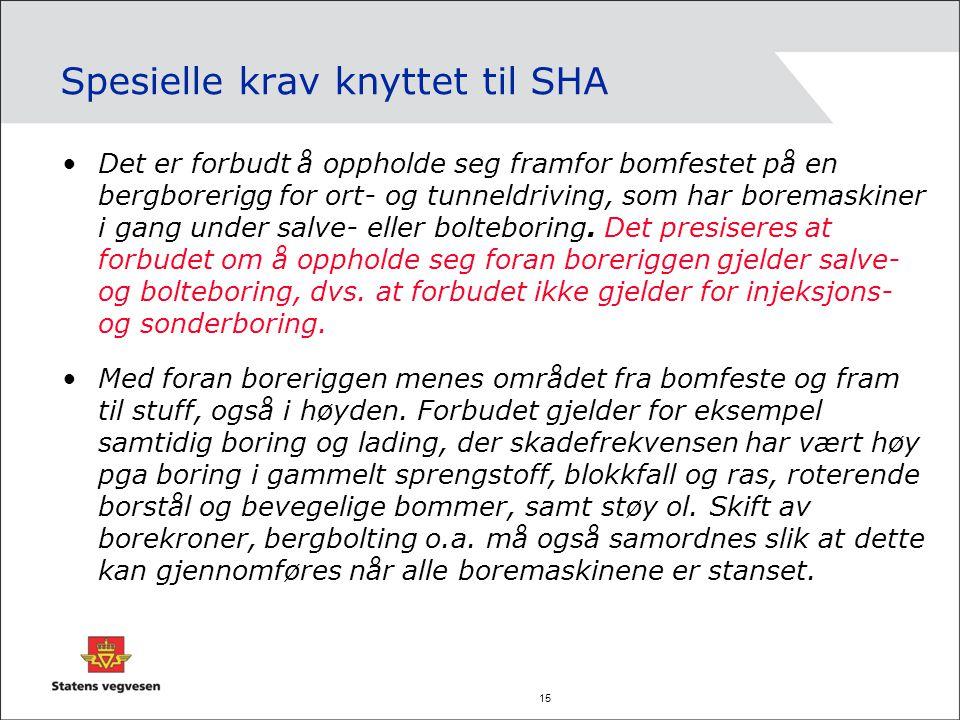 15 Spesielle krav knyttet til SHA Det er forbudt å oppholde seg framfor bomfestet på en bergborerigg for ort- og tunneldriving, som har boremaskiner i