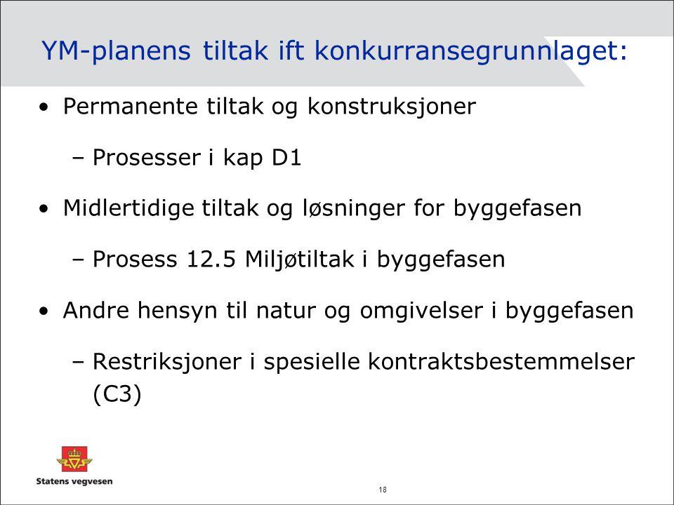 18 YM-planens tiltak ift konkurransegrunnlaget: Permanente tiltak og konstruksjoner –Prosesser i kap D1 Midlertidige tiltak og løsninger for byggefase