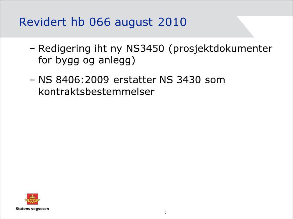 3 Revidert hb 066 august 2010 –Redigering iht ny NS3450 (prosjektdokumenter for bygg og anlegg) –NS 8406:2009 erstatter NS 3430 som kontraktsbestemmel