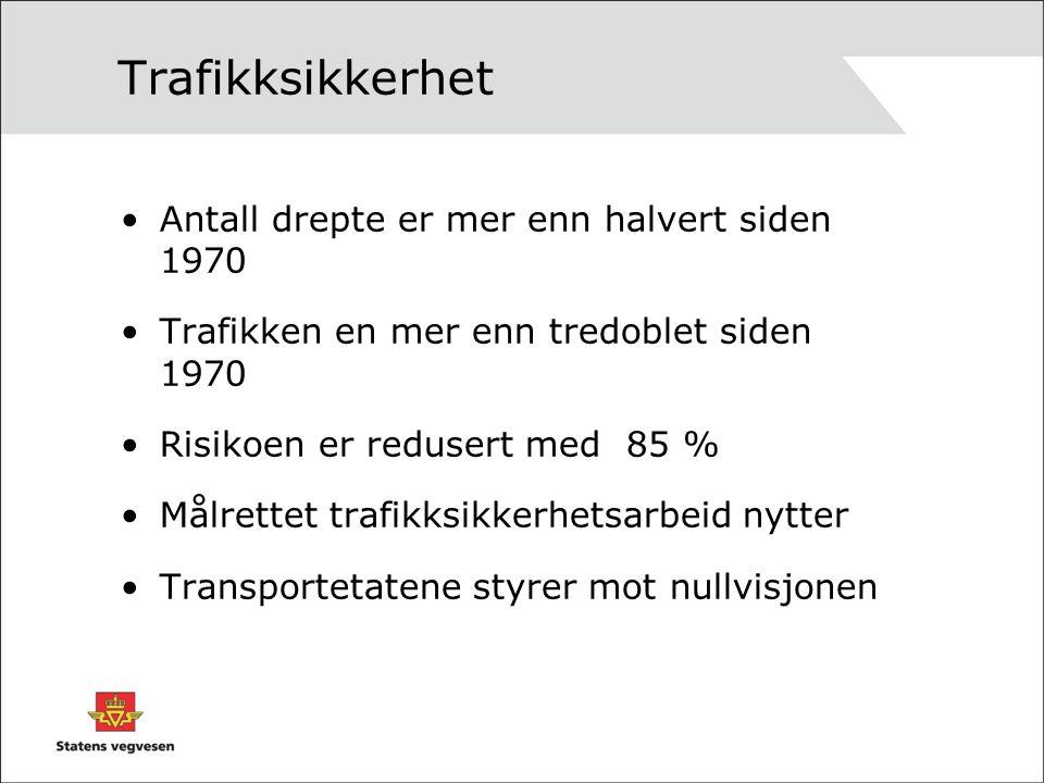 Trafikksikkerhet Antall drepte er mer enn halvert siden 1970 Trafikken en mer enn tredoblet siden 1970 Risikoen er redusert med 85 % Målrettet trafikksikkerhetsarbeid nytter Transportetatene styrer mot nullvisjonen