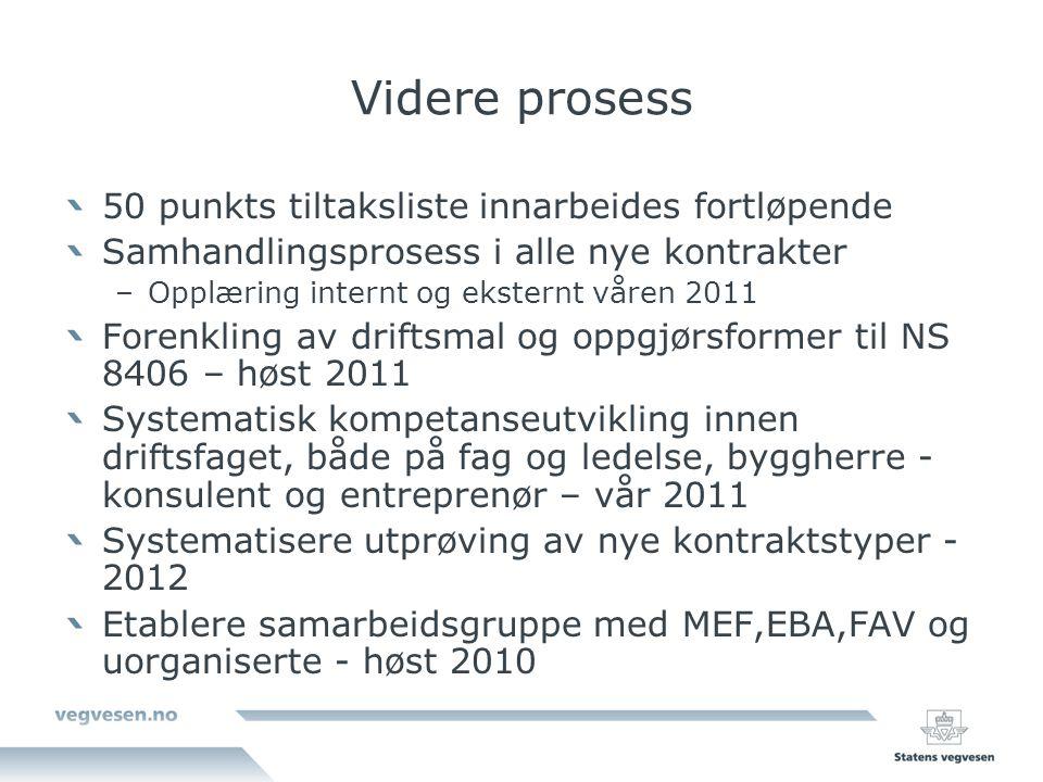 Videre prosess 50 punkts tiltaksliste innarbeides fortløpende Samhandlingsprosess i alle nye kontrakter –Opplæring internt og eksternt våren 2011 Fore