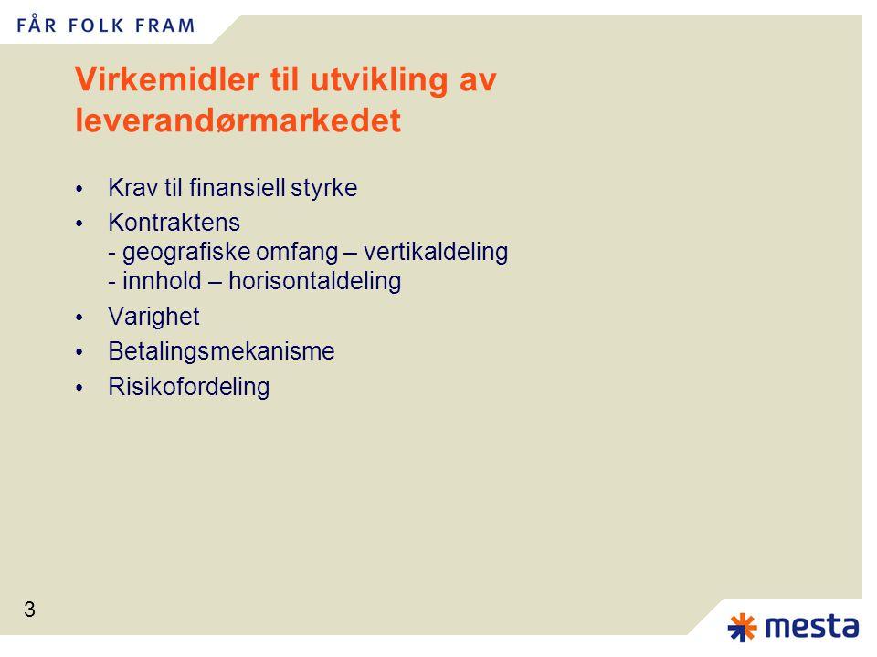 3 Virkemidler til utvikling av leverandørmarkedet Krav til finansiell styrke Kontraktens - geografiske omfang – vertikaldeling - innhold – horisontaldeling Varighet Betalingsmekanisme Risikofordeling