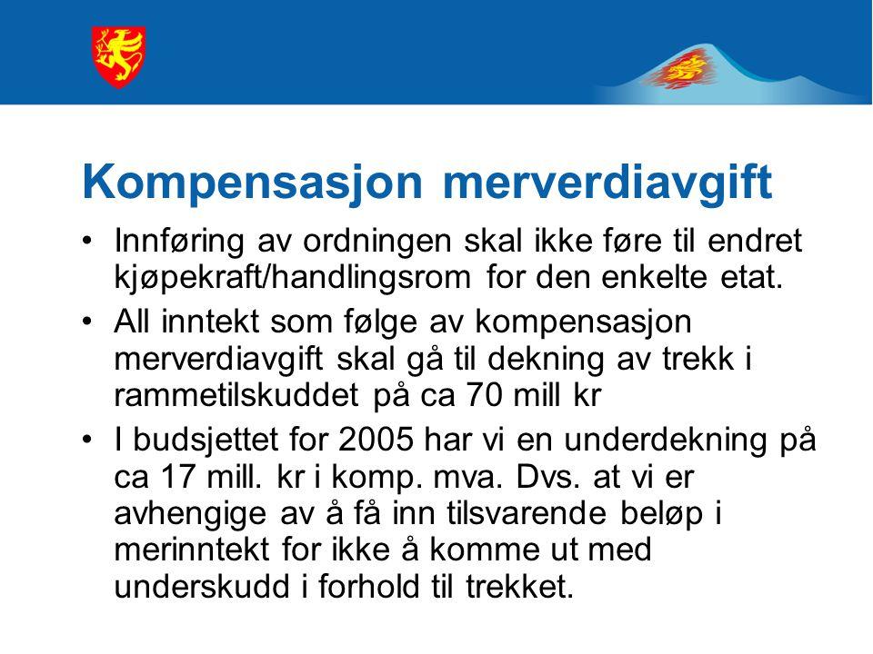 Kompensasjon merverdiavgift Innføring av ordningen skal ikke føre til endret kjøpekraft/handlingsrom for den enkelte etat.