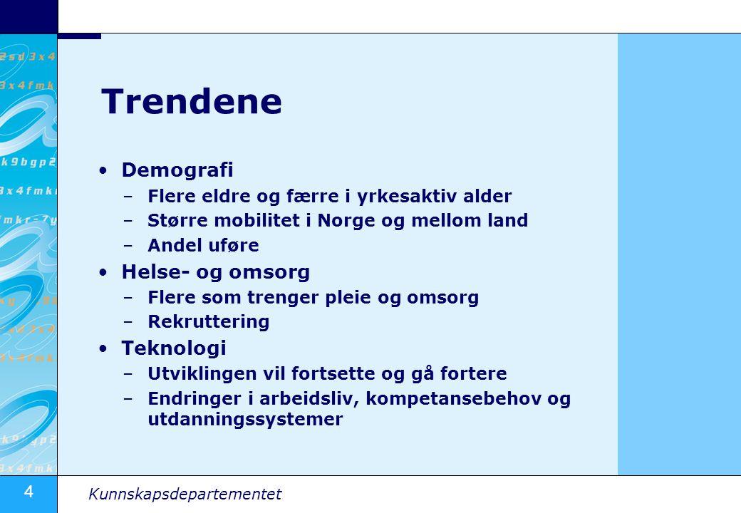 4 Kunnskapsdepartementet Trendene Demografi –Flere eldre og færre i yrkesaktiv alder –Større mobilitet i Norge og mellom land –Andel uføre Helse- og omsorg –Flere som trenger pleie og omsorg –Rekruttering Teknologi –Utviklingen vil fortsette og gå fortere –Endringer i arbeidsliv, kompetansebehov og utdanningssystemer