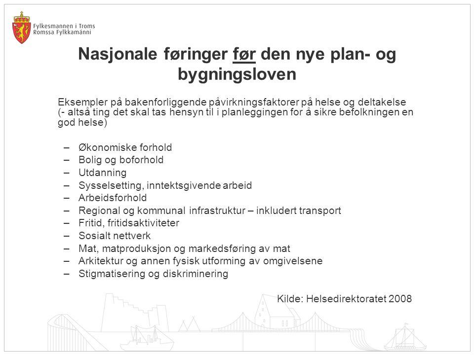 Nasjonale føringer før den nye plan- og bygningsloven Eksempler på bakenforliggende påvirkningsfaktorer på helse og deltakelse (- altså ting det skal