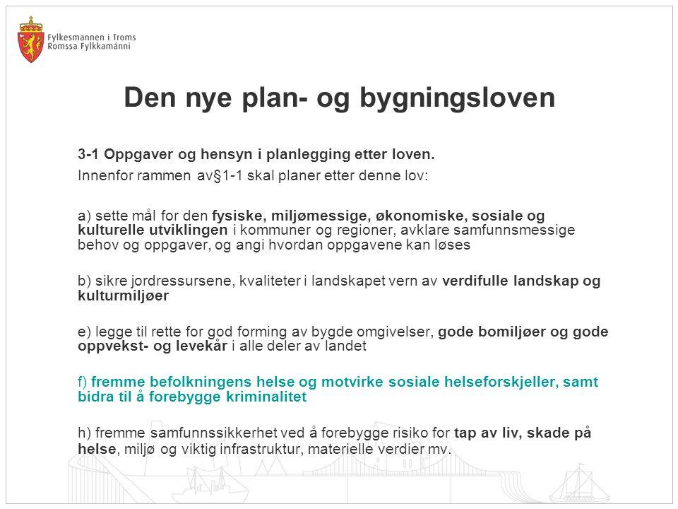Den nye plan- og bygningsloven 3-1 Oppgaver og hensyn i planlegging etter loven. Innenfor rammen av§1-1 skal planer etter denne lov: a) sette mål for