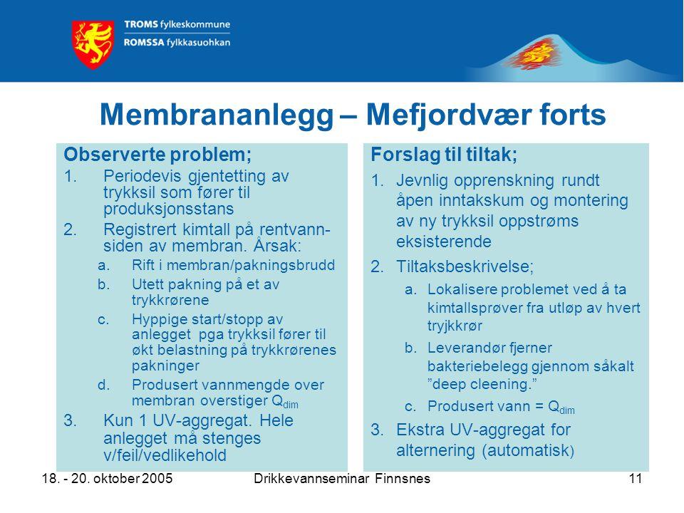 18. - 20. oktober 2005Drikkevannseminar Finnsnes11 Membrananlegg – Mefjordvær forts Observerte problem; 1.Periodevis gjentetting av trykksil som fører