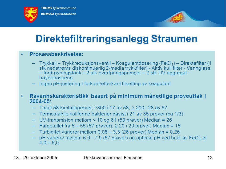 18. - 20. oktober 2005Drikkevannseminar Finnsnes13 Direktefiltreringsanlegg Straumen Prosessbeskrivelse: –Trykksil – Trykkreduksjonsventil – Koagulant