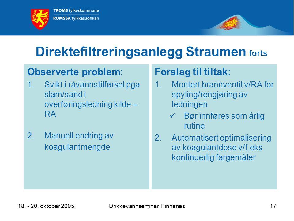 18. - 20. oktober 2005Drikkevannseminar Finnsnes17 Direktefiltreringsanlegg Straumen forts Observerte problem: 1.Svikt i råvannstilførsel pga slam/san