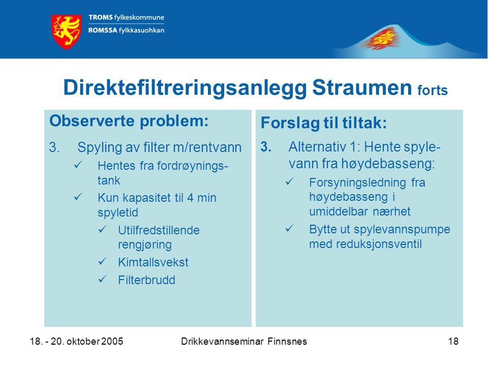 18. - 20. oktober 2005Drikkevannseminar Finnsnes18 Direktefiltreringsanlegg Straumen forts Observerte problem: 3.Spyling av filter m/rentvann Hentes f