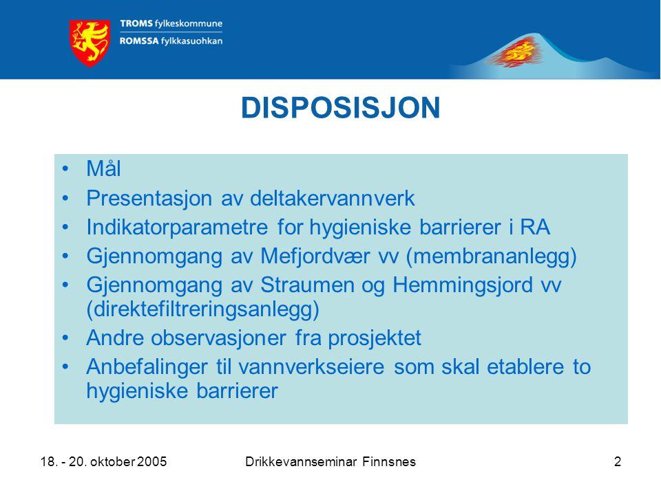 18. - 20. oktober 2005Drikkevannseminar Finnsnes2 DISPOSISJON Mål Presentasjon av deltakervannverk Indikatorparametre for hygieniske barrierer i RA Gj
