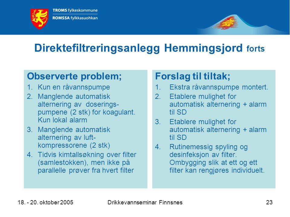 18. - 20. oktober 2005Drikkevannseminar Finnsnes23 Direktefiltreringsanlegg Hemmingsjord forts Observerte problem; 1.Kun en råvannspumpe 2.Manglende a