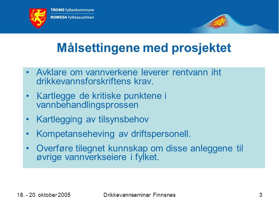 18. - 20. oktober 2005Drikkevannseminar Finnsnes3 Målsettingene med prosjektet Avklare om vannverkene leverer rentvann iht drikkevannsforskriftens kra