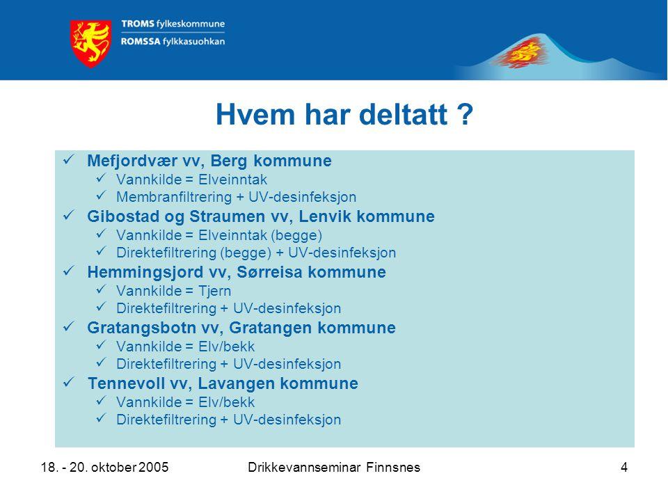 18. - 20. oktober 2005Drikkevannseminar Finnsnes4 Hvem har deltatt ? Mefjordvær vv, Berg kommune Vannkilde = Elveinntak Membranfiltrering + UV-desinfe