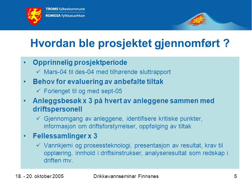 18. - 20. oktober 2005Drikkevannseminar Finnsnes5 Hvordan ble prosjektet gjennomført ? Opprinnelig prosjektperiode Mars-04 til des-04 med tilhørende s