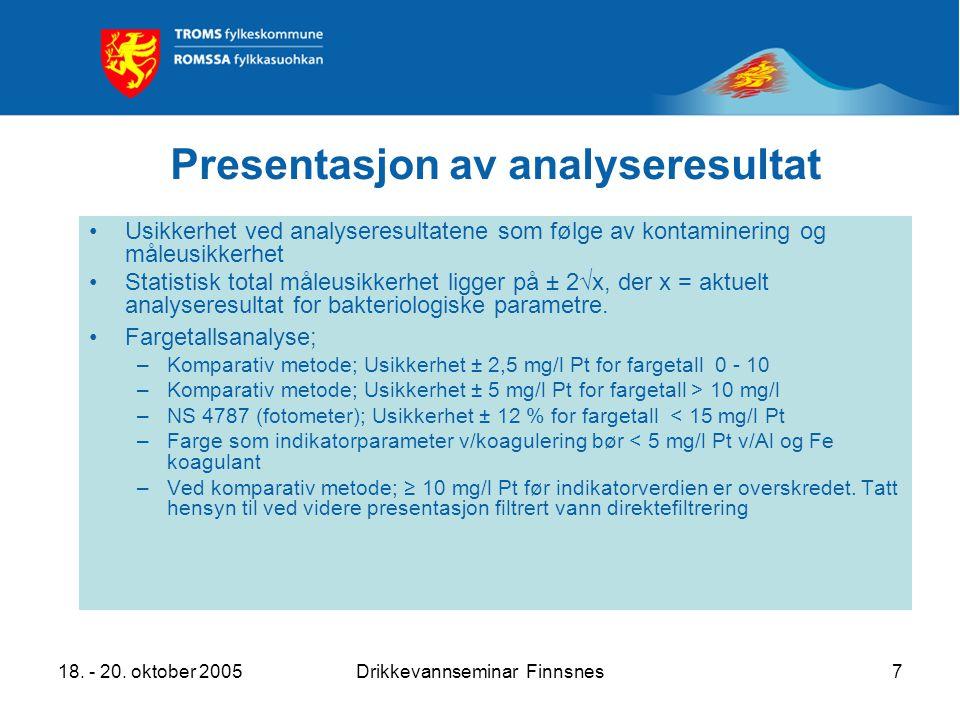 18. - 20. oktober 2005Drikkevannseminar Finnsnes7 Presentasjon av analyseresultat Usikkerhet ved analyseresultatene som følge av kontaminering og måle