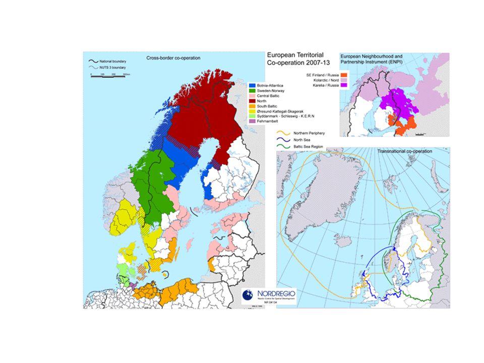 Interreg IVB Nordlige periferi 2007-2013 www.northernperiphery.eu www.northernperiphery.eu 1.Fremme innovasjon og konkurranseevne i perifere områder 1.1 Innovasjon, nettverk og konkurranseevne 1.2 Tilgjengelighet 2.Bærekraftig utvikling av natur- og samfunnsmessige ressurser 2.1 Miljø som aktivum i periferien 2.2 By-land samarbeid og ivaretakelse av kulturarv Norske Interregmidler pr.år:6,3 mill kr Programsekretariat:Viborg Norsk koordinering:LU, Bodø