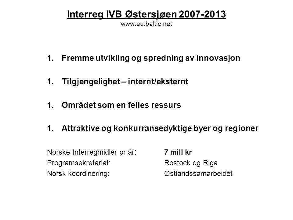 Interreg IVB Nordsjøen 2007-2013 www.interregnorthsea.org 1.Øke innovasjonsnivået 1.Forbedre miljøkvaliteten 1.Forbedre tilgjengeligheten 1.Bærekraftige og konkurransedyktige lokalsamfunn Norske Interregmidler pr år : 11,5 mill kr Programsekretariat:Viborg Norsk koordinering:Vestlandsrådet