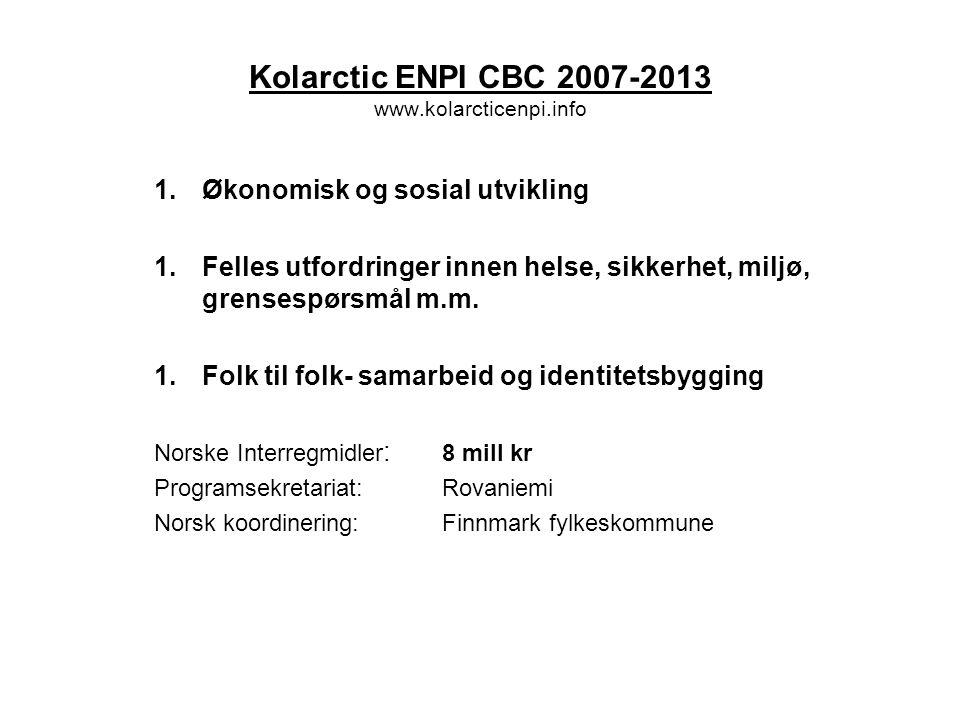 Interreg IVA Nord 2007-2013 www.interregnord.com 1.Utvikling av næringslivet 2.Forskning, utvikling og utdanning 3.Regional funksjonalitet og identitet 4.Sápmi – grenseløs utvikling (Delprogram) Norske Interregmidler pr år: 8 mill kr (+ til samisk program) Programsekretariat:Luleå Norsk koordinering:Troms fylkeskommune