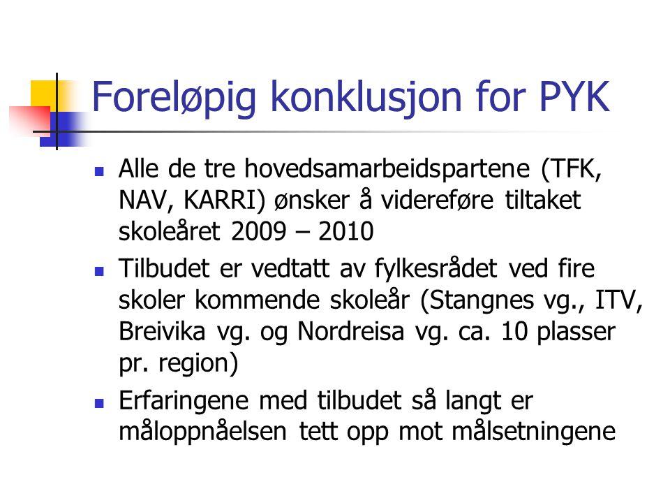 Foreløpig konklusjon for PYK Alle de tre hovedsamarbeidspartene (TFK, NAV, KARRI) ønsker å videreføre tiltaket skoleåret 2009 – 2010 Tilbudet er vedta