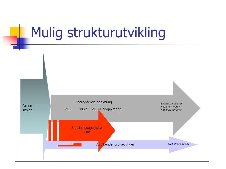 Mulig strukturutvikling Grunn- skolen Videregående opplæring VG1 VG2 VG3 /Fagopplæring Avvikende forutsetninger Spesialpedagogiske tiltak Studiekompet