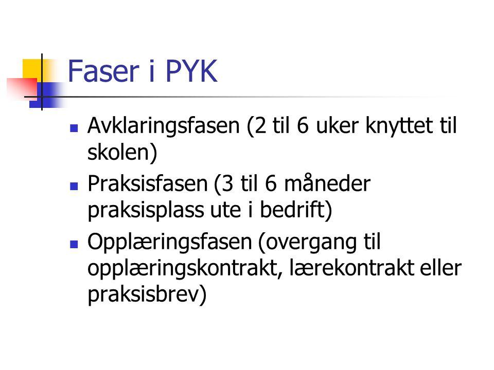 Faser i PYK Avklaringsfasen (2 til 6 uker knyttet til skolen) Praksisfasen (3 til 6 måneder praksisplass ute i bedrift) Opplæringsfasen (overgang til