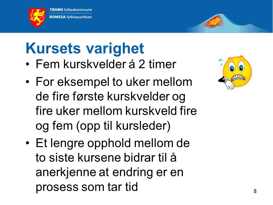8 Kursets varighet Fem kurskvelder á 2 timer For eksempel to uker mellom de fire første kurskvelder og fire uker mellom kurskveld fire og fem (opp til