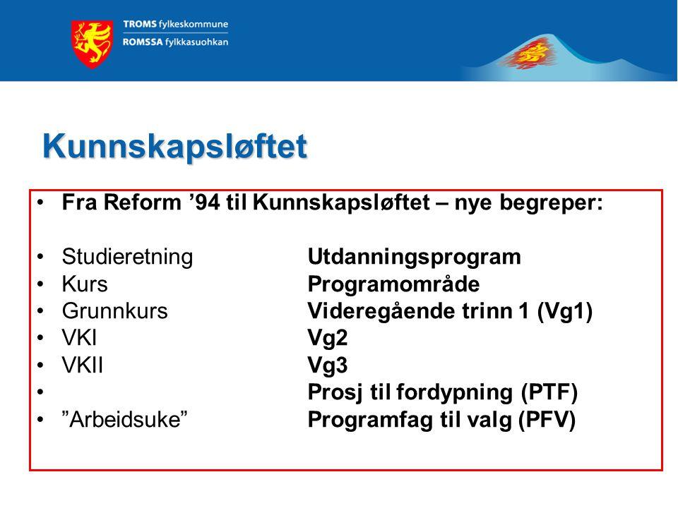 Kunnskapsløftet Fra Reform '94 til Kunnskapsløftet – nye begreper: StudieretningUtdanningsprogram KursProgramområde GrunnkursVideregående trinn 1 (Vg1) VKIVg2 VKIIVg3 Prosj til fordypning (PTF) Arbeidsuke Programfag til valg (PFV)