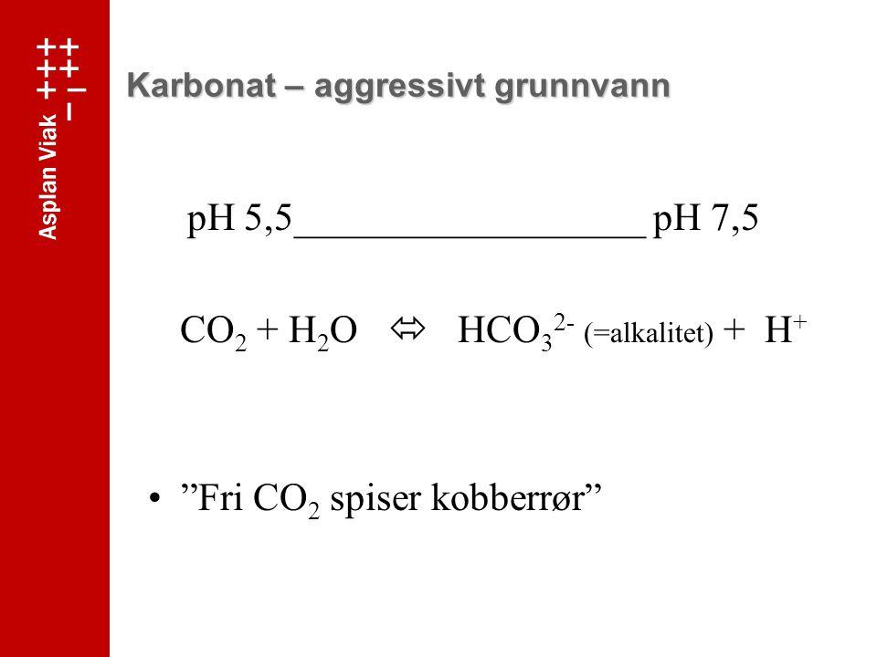 Karbonat – aggressivt grunnvann pH 5,5__________________ pH 7,5 CO 2 + H 2 O  HCO 3 2- (=alkalitet) + H + Fri CO 2 spiser kobberrør