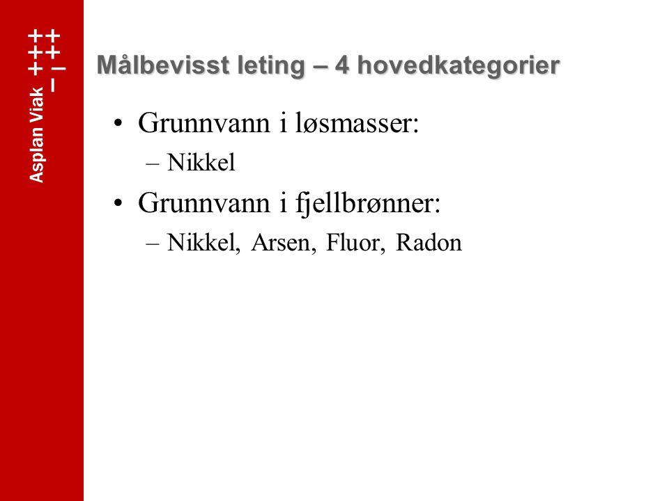 Målbevisst leting – 4 hovedkategorier Grunnvann i løsmasser: –Nikkel Grunnvann i fjellbrønner: –Nikkel, Arsen, Fluor, Radon