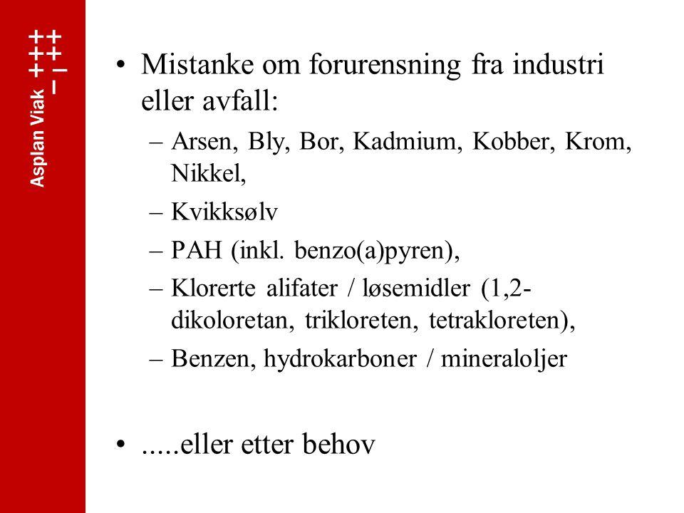 Mistanke om forurensning fra industri eller avfall: –Arsen, Bly, Bor, Kadmium, Kobber, Krom, Nikkel, –Kvikksølv –PAH (inkl.