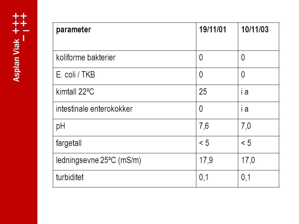 parameter19/11/0110/11/03 koliforme bakterier00 E.