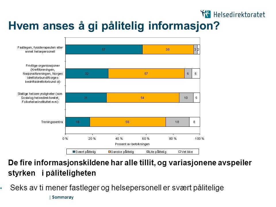 | Sommarøy Mange besøker helse- og sosialtjenesten 3 av 4 voksne er i kontakt med fastlegen sin årlig (Seiler, 2000).