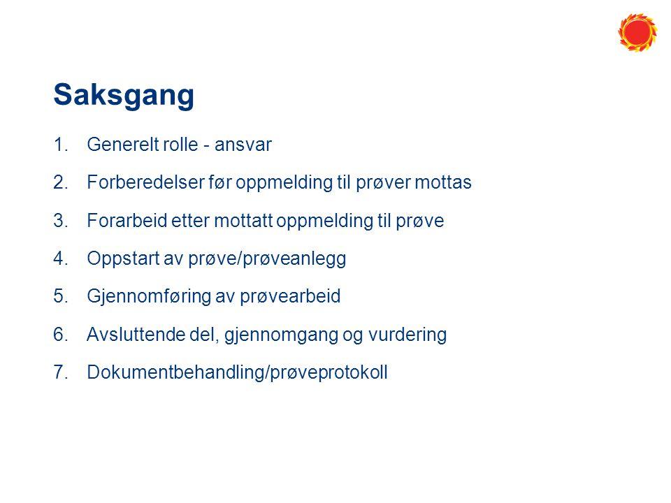 Saksgang 1.Generelt rolle - ansvar 2.Forberedelser før oppmelding til prøver mottas 3.Forarbeid etter mottatt oppmelding til prøve 4.Oppstart av prøve