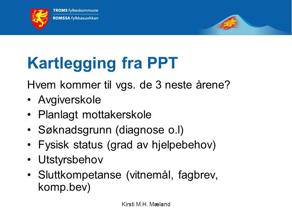 Kirsti M.H. Mæland Kartlegging fra PPT Hvem kommer til vgs.