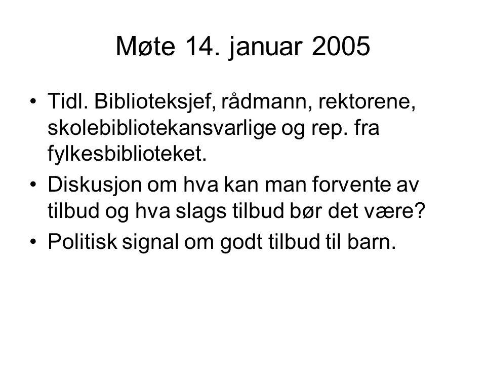 Møte 14. januar 2005 Tidl. Biblioteksjef, rådmann, rektorene, skolebibliotekansvarlige og rep.