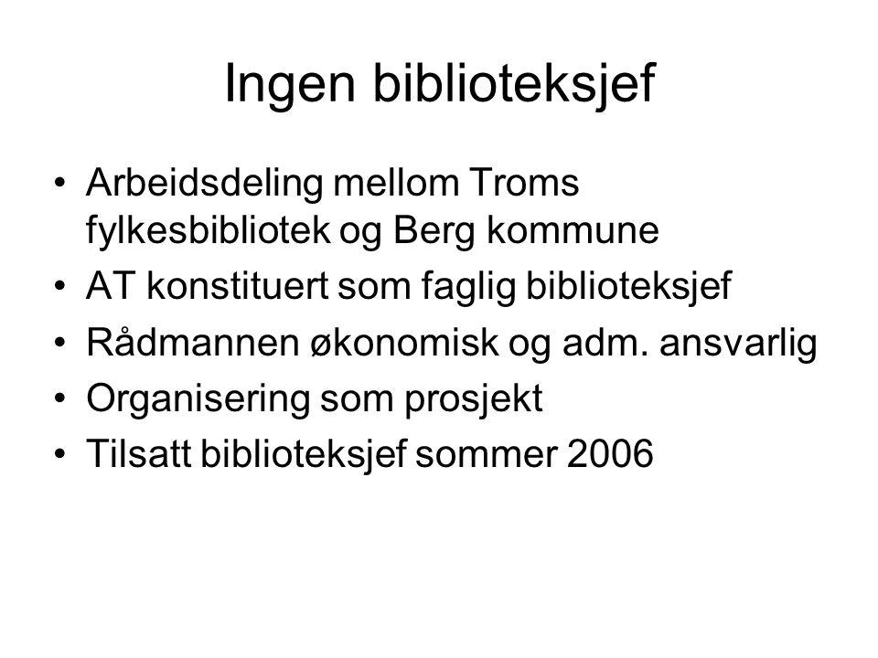 Ingen biblioteksjef Arbeidsdeling mellom Troms fylkesbibliotek og Berg kommune AT konstituert som faglig biblioteksjef Rådmannen økonomisk og adm.
