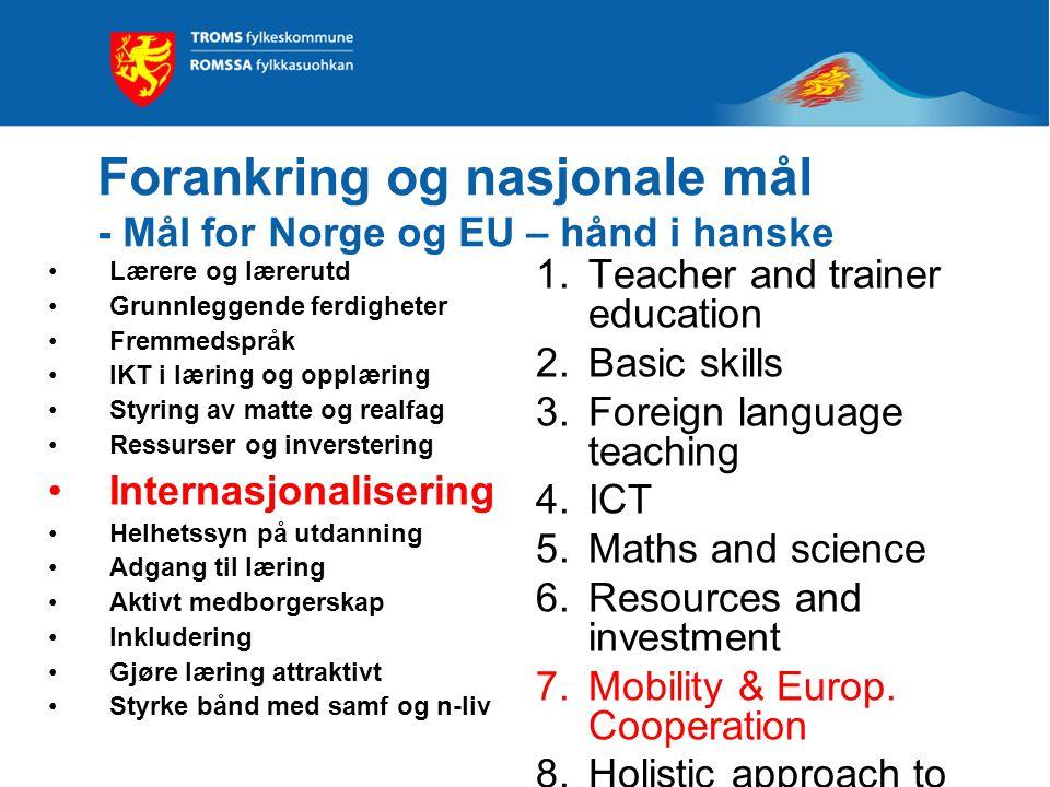Forankring og nasjonale mål - Mål for Norge og EU – hånd i hanske Lærere og lærerutd Grunnleggende ferdigheter Fremmedspråk IKT i læring og opplæring