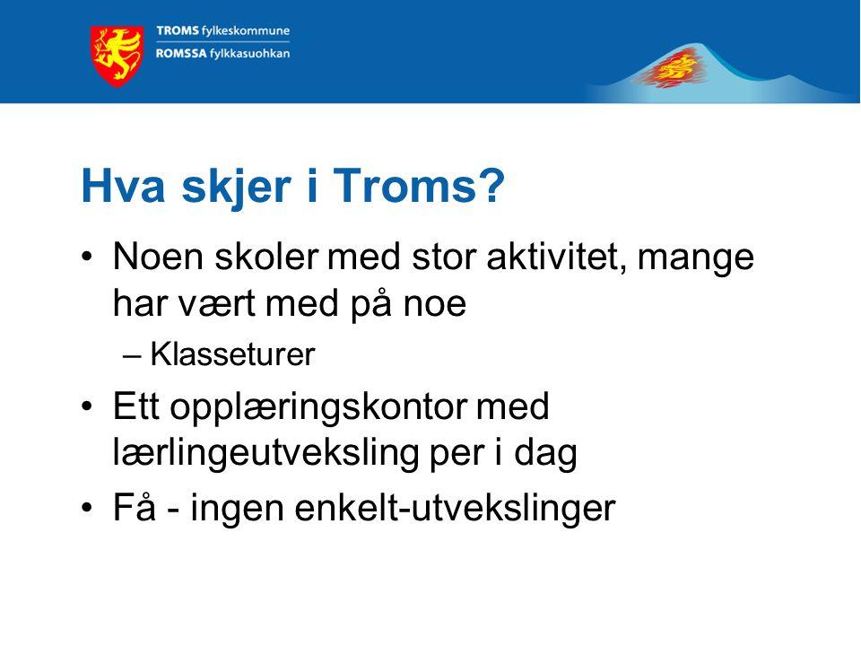 Hva skjer i Troms? Noen skoler med stor aktivitet, mange har vært med på noe –Klasseturer Ett opplæringskontor med lærlingeutveksling per i dag Få - i