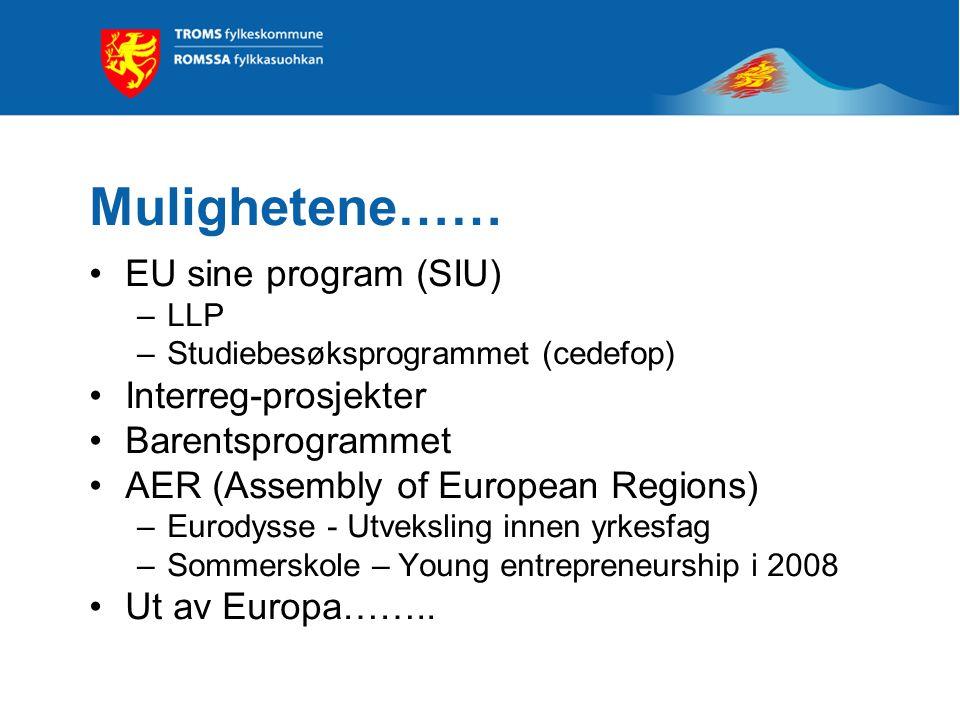 Mulighetene…… EU sine program (SIU) –LLP –Studiebesøksprogrammet (cedefop) Interreg-prosjekter Barentsprogrammet AER (Assembly of European Regions) –Eurodysse - Utveksling innen yrkesfag –Sommerskole – Young entrepreneurship i 2008 Ut av Europa……..