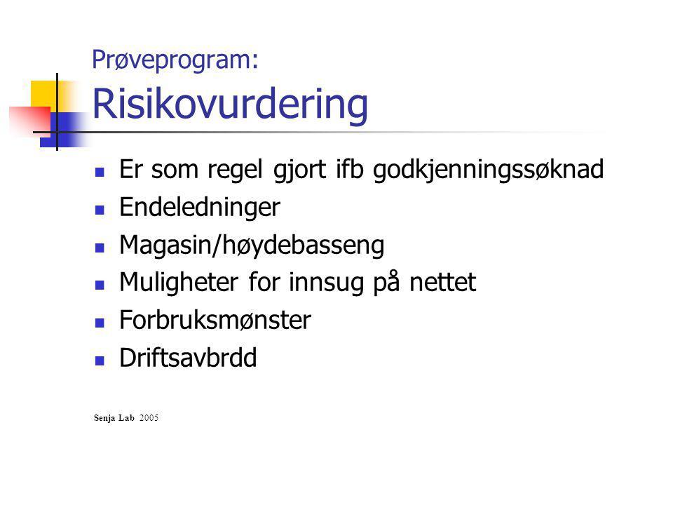 Prøveprogram: Risikovurdering Er som regel gjort ifb godkjenningssøknad Endeledninger Magasin/høydebasseng Muligheter for innsug på nettet Forbruksmønster Driftsavbrdd Senja Lab 2005