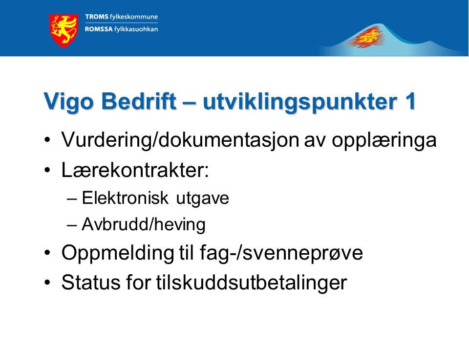 Vigo Bedrift – utviklingspunkter 1 Vurdering/dokumentasjon av opplæringa Lærekontrakter: –Elektronisk utgave –Avbrudd/heving Oppmelding til fag-/svenn