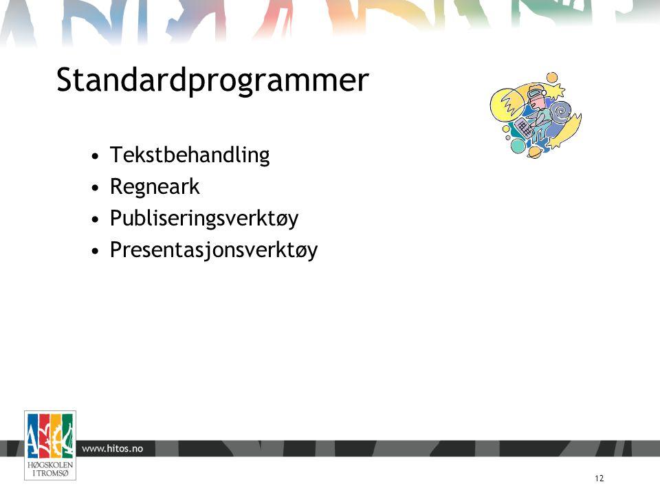 Standardprogrammer 12 Tekstbehandling Regneark Publiseringsverktøy Presentasjonsverktøy