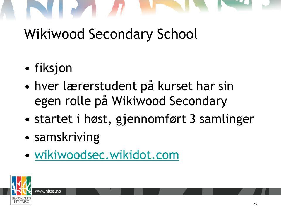 Wikiwood Secondary School 29 fiksjon hver lærerstudent på kurset har sin egen rolle på Wikiwood Secondary startet i høst, gjennomført 3 samlinger sams