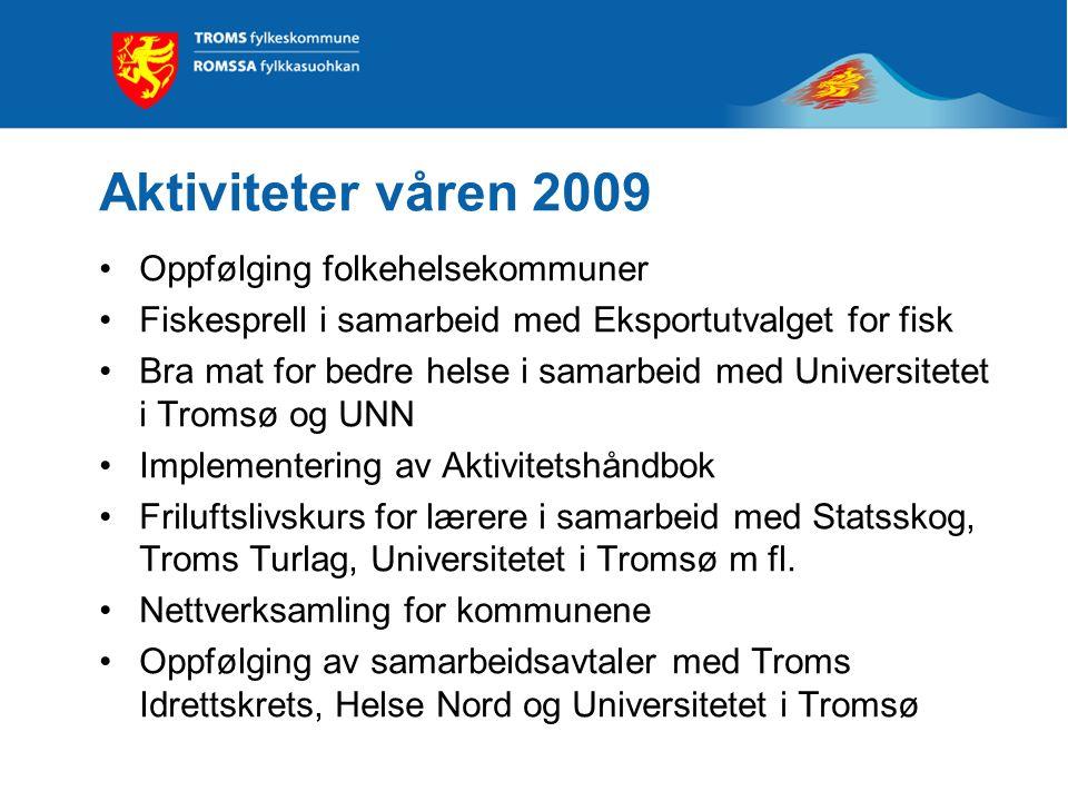 Aktiviteter våren 2009 Oppfølging folkehelsekommuner Fiskesprell i samarbeid med Eksportutvalget for fisk Bra mat for bedre helse i samarbeid med Univ