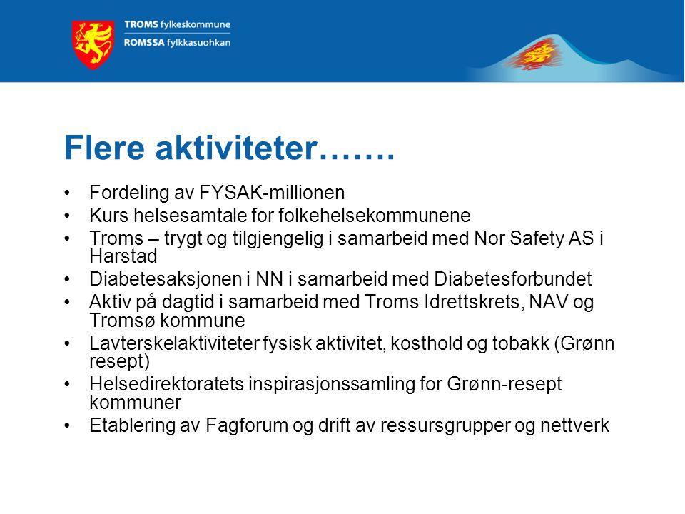 Flere aktiviteter……. Fordeling av FYSAK-millionen Kurs helsesamtale for folkehelsekommunene Troms – trygt og tilgjengelig i samarbeid med Nor Safety A