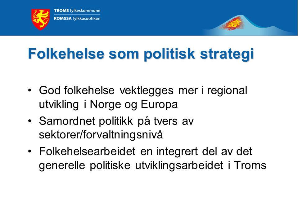 Folkehelse som politisk strategi God folkehelse vektlegges mer i regional utvikling i Norge og Europa Samordnet politikk på tvers av sektorer/forvaltn
